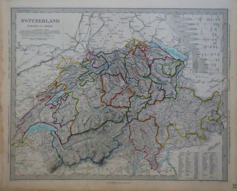 1847 Genuine Antique hand colored map of Switzerland, with topography. SDUK