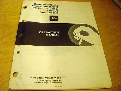 John Deere Round Bale Silage Grapple 245 260 265 280 Loader Operators Manual Jd