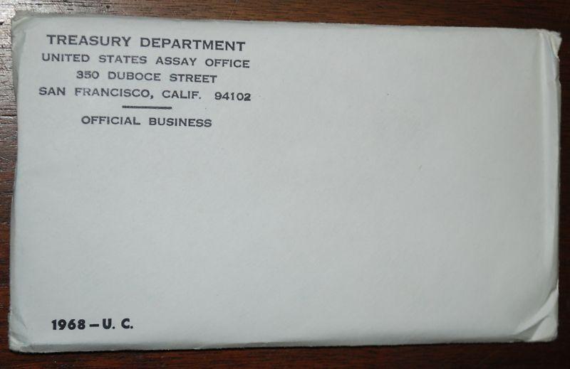 1968 U.S. MINT SET. ISSUED BY US MINT. Envelope Sealed / Unopened