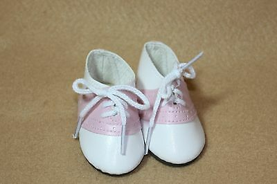 Doll Shoes fitting 18 American Girl Pink and White Leather Saddle - Pink And White Saddle Shoes