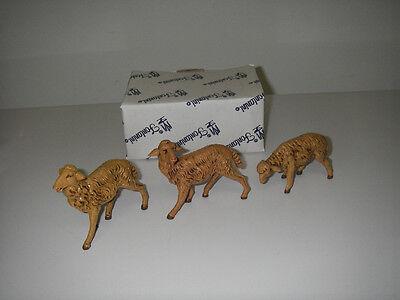 "FIGURINE Fontanini By Roman 7½"" Collection Nativity Set 3 Brown Sheep MIB 52839."