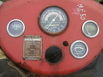 Massey Harris Ferguson 50 Tractor Dash Panel Tachometer Guages Serial Plat