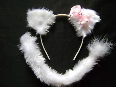 Hello Kitty Ears & Tail Headband White/Baby Pink Bow