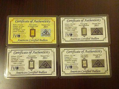 Gold, Silver, Platinum, Palladium 5GRAIN Combo BULLION MINTED FOUR Bars w/COAs +