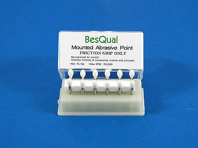 New Friction Grip Burs Mounted White Stone Flame Shape Pack 12 Fl3a