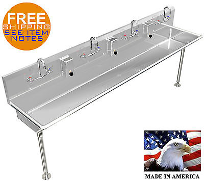 Wash Up Hand Sink 4 Users Multi-station 847 Stainless Steel Manual Faucets