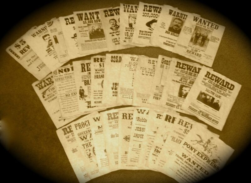Old West Outlaws Wanted Posters Large Lot of 30 Jesse James Wyatt Earp Tombstone