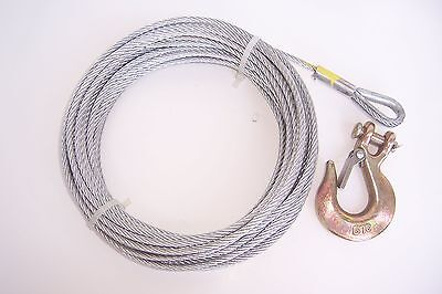 "5//16/"" x 50 ft Stainless Steel Winch Cable SS Thimble /& Copper Sleeve Eye"