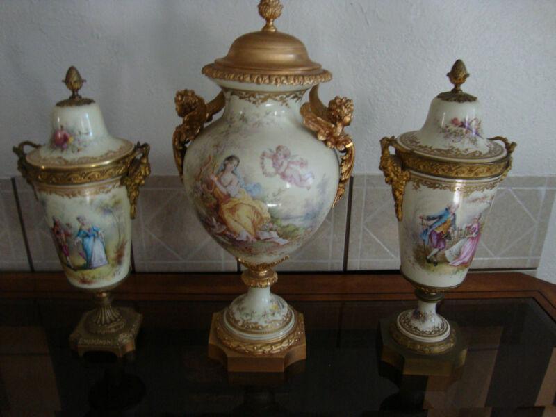 Antique Sevres  Royal  Vienna    Porcelain  Vases Sign