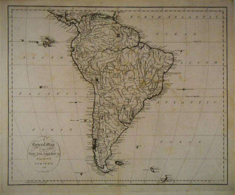 1796 Genuine Antique map of South America. SCARCE. by J. Reid