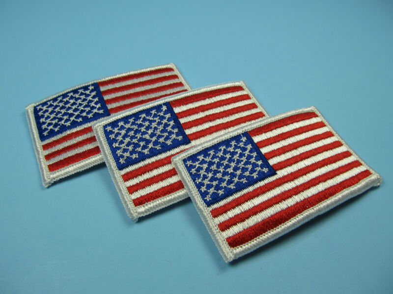"""American Flag Patches 2"""" x 3.5"""" Lot of 3 Fully Embroidered Iron-On Emblems NEW"""