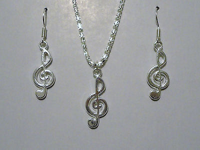 Silver Plated 16in G Clef Music Note Necklace and Dangle Earring Set New (16in Necklace Set)
