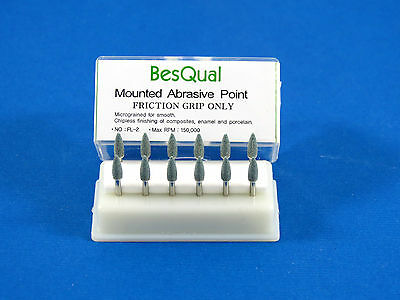 Dental Friction Grip Burs Mounted Green Stone Flame Shape Pack 12 Fl2