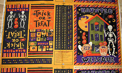 Cats Bats & Bones Debbie Mumm Halloween Treat Bag & Door Panel Fabric 23