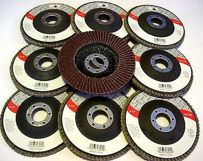 "10 GOLIATH INDUSTRIAL 4-1/2"" FLAP DISCS 80 GRIT FD41280 ANGLE GRINDER WHEEL 4.5"""