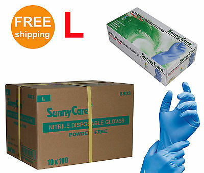 Sunnycare 1000cs Nitrile Disposable Gloves Powder Free Vinyl Free Size Large