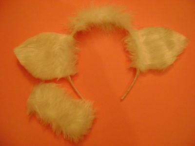 Sheep Lamb Ears & Tail White Fur Fancy Dress One Size ](Costume Sheep Ears)