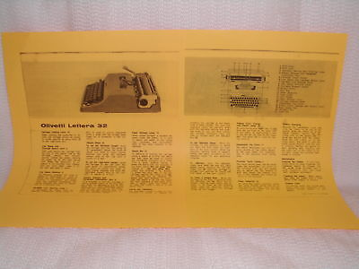 Olivetti Lettera 32 Typewriter Instruction Manual Remington Hermes Royal Look