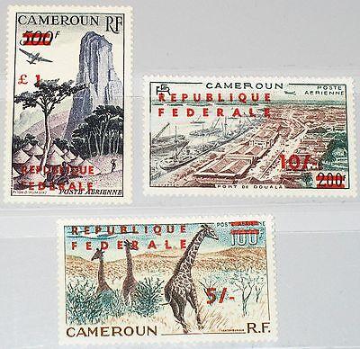CAMEROUN KAMERUN 1961 341-43 II C38-40 Giraffe Harbour Ships Rock Plane MNH