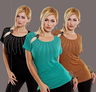 Oberteil Damen Pullover Longpullover Kurzarm Nieten Rundhals Gr. 40 42 L XL Neu ()