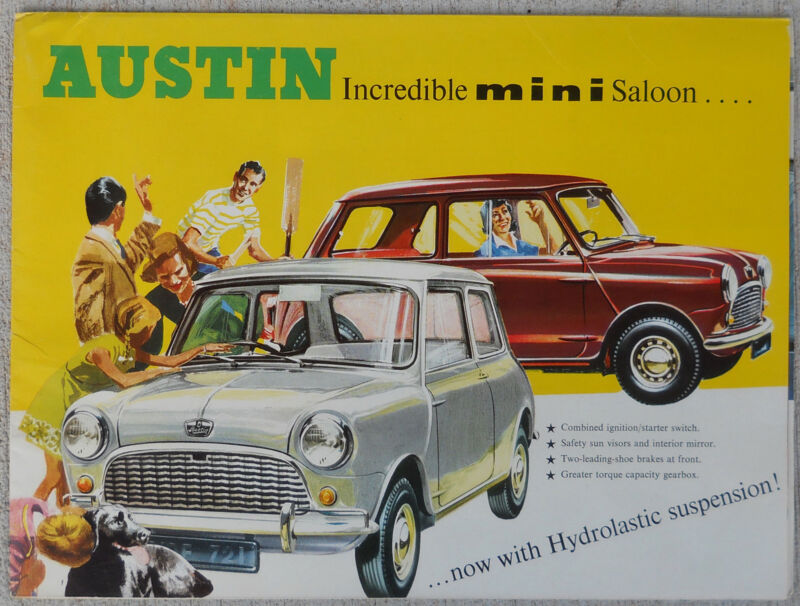 Austin Mini saloon hydrolastic suspension colour fold our brochure