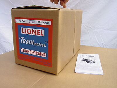 LIONEL ZW 275 WATT 1950 REPRODUCTION BOX WITH ALL 4 INSERTS