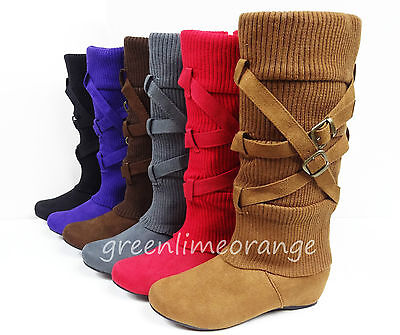 NEW WOMEN'S SUEDE MID-CALF COMFY FASHION BUCKLED WEDGE  HEEL BOOTS