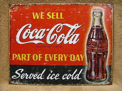 Coke Coca Cola Tin Metal Sign Vintage Look Distressed Look Pop Soda Kitchen NEW ()
