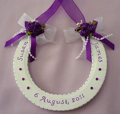 Personalised Lucky REAL Wedding Horseshoe All Colours 75g.Raceshoe Gems/Pearls