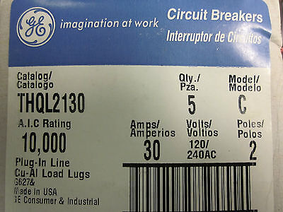 New Box Of 5 General Electric 2 Pole 30 Amp Circuit Breakers Thql2130  Gg-62