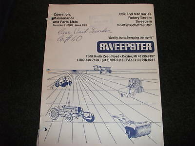Sweepster D32 S32 Rotary Broom Sweepers Op Parts Manual