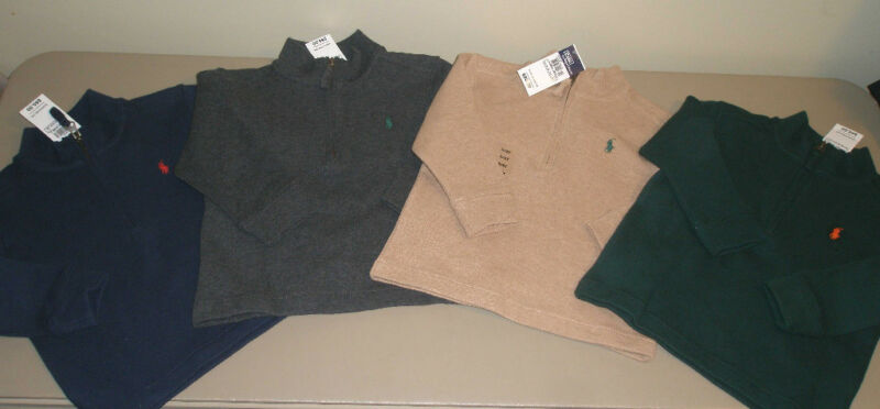 Polo Ralph Lauren Baby Boys Green Blue Red Black Cotton Sweater Size Toddler 2T