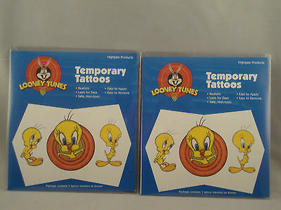 TWEETY BIRD TEMPORARY TATTOOS - LOT OF 2 PACKAGES - LOONEY TUNES TWEETY