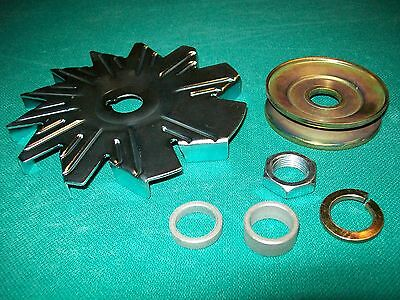 Alternator 3/8 Belt Pulley Fan & Nut & Spacer Kit Delco 10DN 10SI Chevy - Belt Pulley Nut
