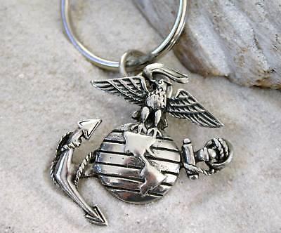 Us Marine Corp Semper Fi Pewter Keychain Key Ring