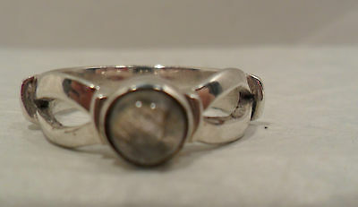 Vintage Antique Estate Real Labradorite Sterling Silver Split Shank Ring Size 7
