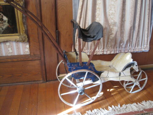 Antique Doll Carriage Baby Carriage Hand Painted Wood All Original