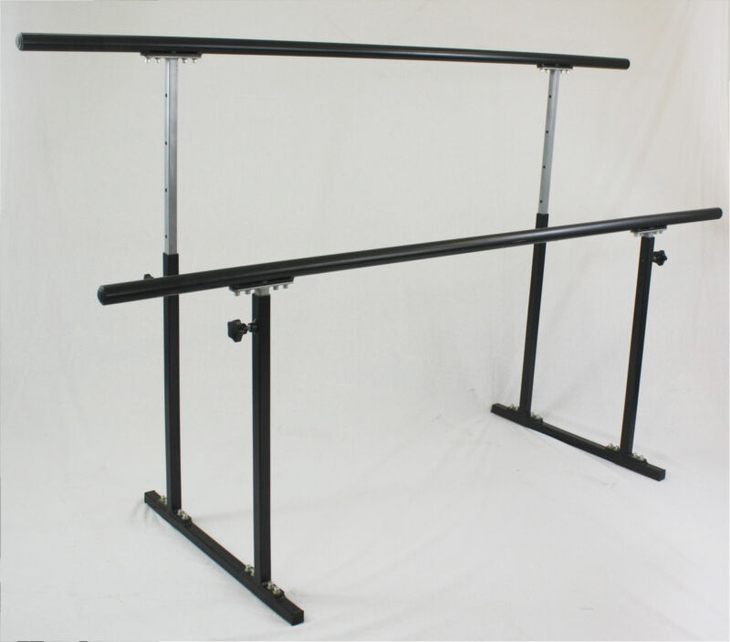 """8 ft. Double Ballet Barre Stand Adjustable 31-49"""", 300 lb Wt Capacity Pilate 96"""""""