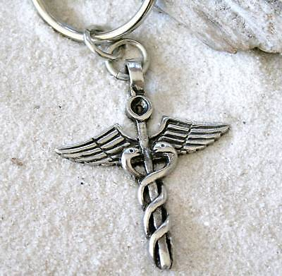 CADUCEUS MEDICAL NURSE DOCTOR Pewter KEYCHAIN Key Ring