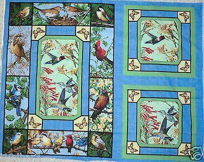BIRD FABRIC 2 PILLOW PANEL & QUILT TOP WALLHANG BACKYARD BIRDS AND FLOWERS  NEW