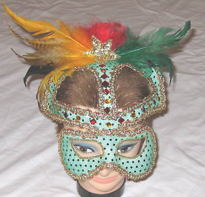 Marti Gras Masks (Glamor Marti Gras Green Halloween Costume Mask One)