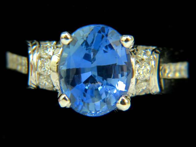 █$36000 Gia No Heat 4.75ct Natural Sapphire Diamond Ring A+ Cornflower Unheated█