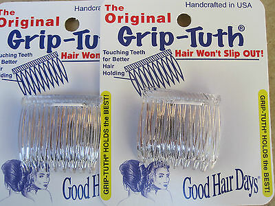 """2 Sets of 2 Clear Grip-Tuth Side Comb 1 1/2"""" Made in USA Good Hair Days #40072"""