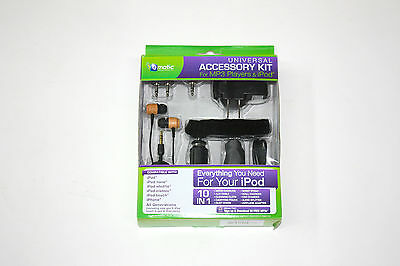 10-in-1 Accessory Kit for iPod iPhone MP3 Player Earbuds Wall Car Charger Strap Ipod Earbuds Accessory