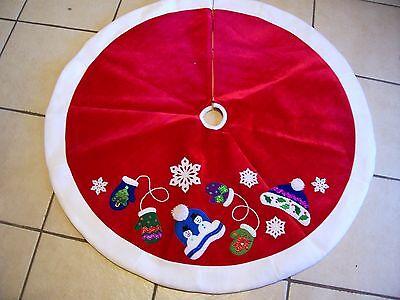 48 INCH RED VELORE & WHITE FLEECE SNOWMAN TREE SKIRT CHRISTMAS DECORATION