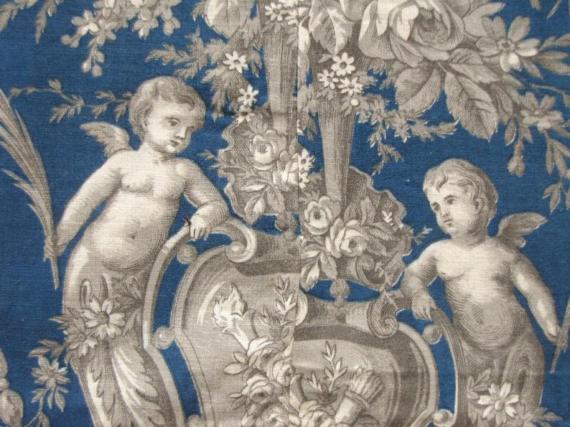 Antique French Fabric Prussian blue linen & cotton cherub design c1870 textile
