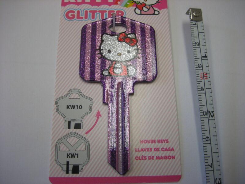 Hello Kitty Glitter Key Kwikset KW1 House Key Blank / New