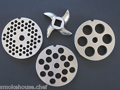 22 Meat Grinder Disc Plate Set And Knife For Hobart Lem Cabelas Universal Etc.