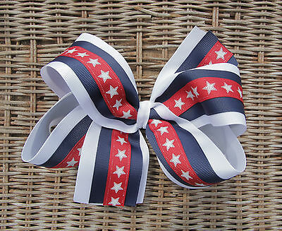 Personalized Embroidered Red White and Blue Stars and Stripes Girl's Hair Bow  - Red White And Blue Hair Bows