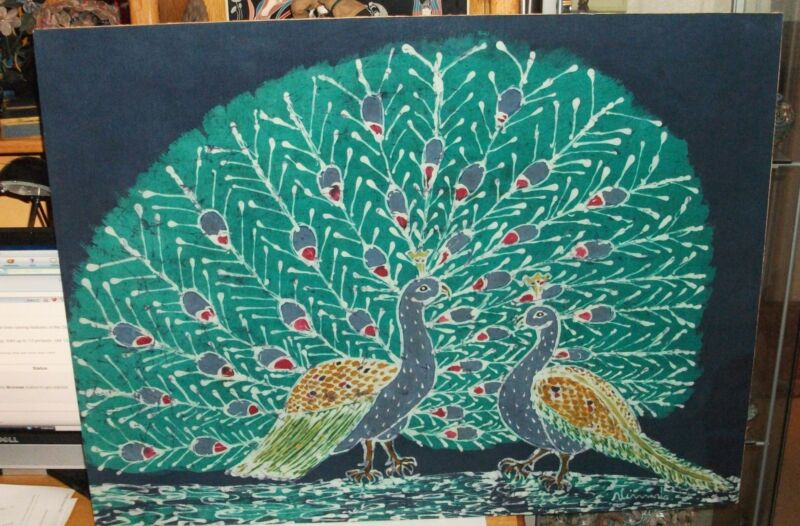 LARGE MALAYSIAN PEACOCKS SIGNED ORIGINAL BATIK PAINTING